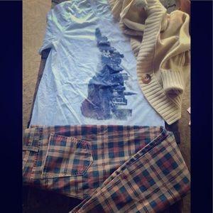 (3) CURRENT/ELLIOTT Jeans, A&F sweater +shirt